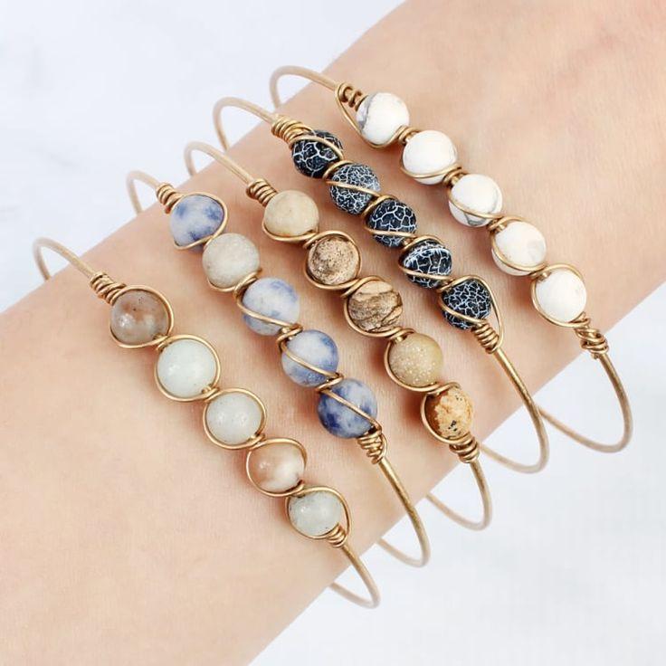Natural stone wire bracelet | Jane   – DIY