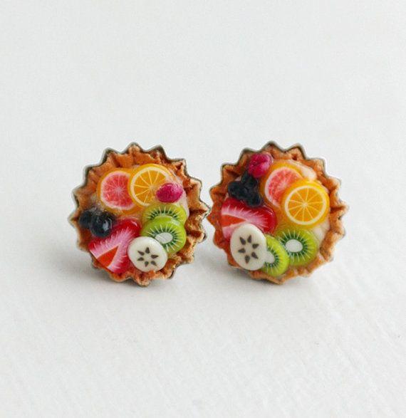 Fruit Tart  Food Earrings  Food Jewelry by bookmarksnrings on Etsy, $9.00