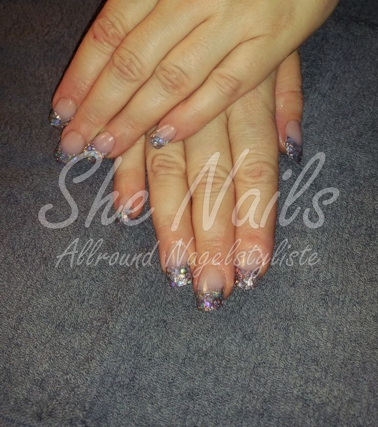 Glitter French van acryl #Funky #Nails