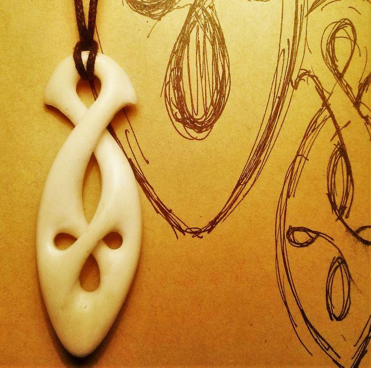 Infinity loop. Carved bone pendant. Inspired by Maori jade art, Pinterest. Made by Zoltan Feher