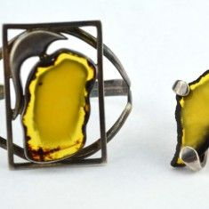 Set argint masiv bratara inel chihlimbar galben, atelier polonez design Art Deco…