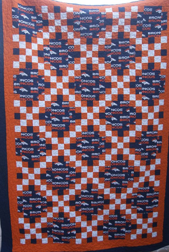 NFL Denver Broncos twin football quilt. Double Irish chain