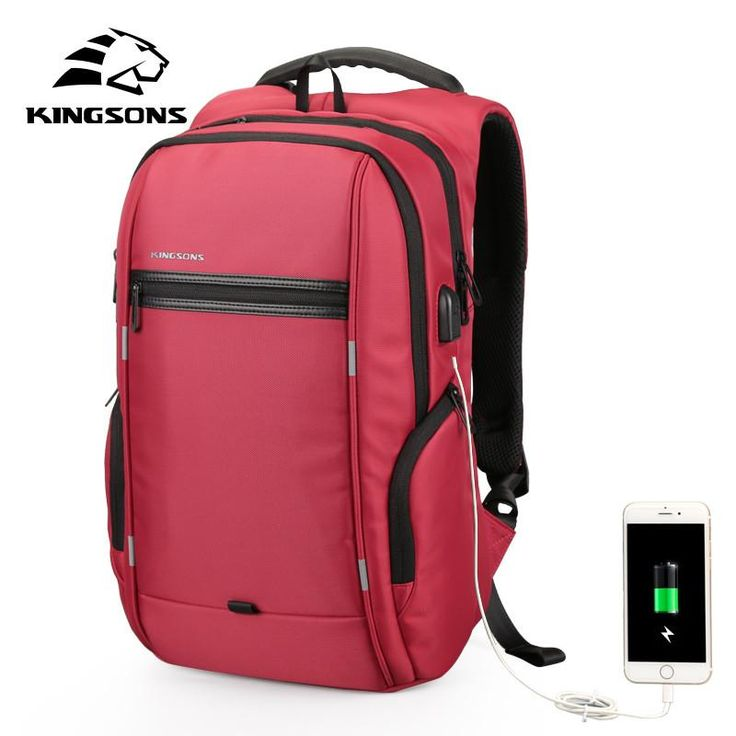 Unisex 13-17'' External USB Charging Laptop Backpack Notebook Waterproof Anti-theft School Bag