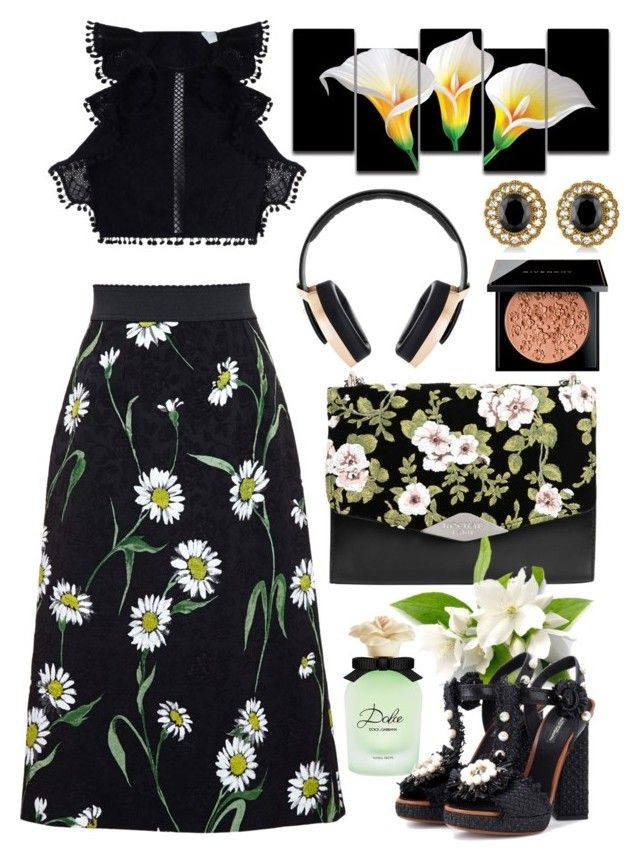 """""""Dolce & Gabbana Daisy Print Jacquard Midi Skirt"""" by thestyleartisan ❤ liked on Polyvore featuring Dolce&Gabbana, Zimmermann, Pryma, Rick Owens Lilies, Rochas, Allurez and Givenchy"""