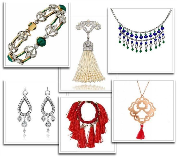 Bijoux de courtisane - bracelet Boucheron émeraudes et diamants, pendentif cartier diamants et perles, collier et boucles d'oreilles Agatha, bracelet à pompons Morgan et pendentif métal et pampille mode in motion