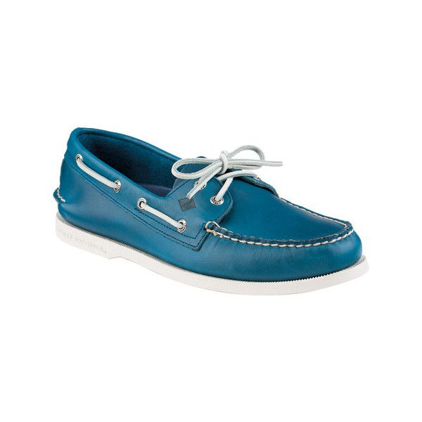Men's Sperry Top-Sider A/O 2-Eye Sarape Boat Shoe - Blue Leather... ($100) ❤ liked on Polyvore featuring men's fashion, men's shoes, men's loafers, blue, casual, sailing shoes, mens blue leather shoes, mens shoes, mens lace up shoes and mens sport shoes