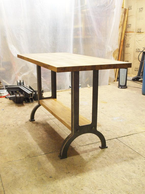 Industrial Table Kitchen Island Oak Top Metal Machine Base Industrial Metals And Legs