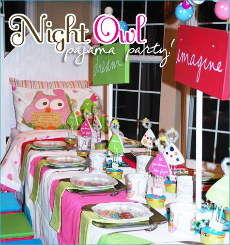 Night Owl PJ Club Party - Besides the fact that this birthday party had an owl theme (yay!), we just had to share this awesome PJ and birthday party concept! Take a look at the cute decor, creative ideas and personalized items! From the blog Hostess with the Mostess.
