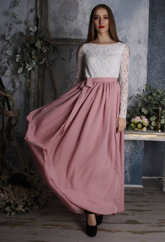Powder pink skirt chiffon skirt full length skirt