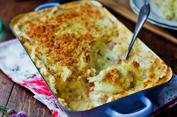 Jamie Oliver fish pie recipe. Change the recipe a little (Dad's way) - dice all the veggies (add onion and garlic) and fry off first before putting them all together in the oven. Also add quarted (lengthways) tomatoes and boiled eggs!