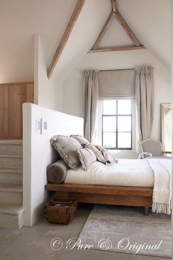 Rustic Bedroom. Stairs leading to a library? Or maybe the bathroom
