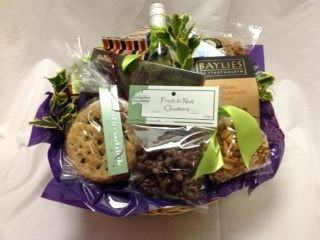'Joyful' Christmas Basket, Mince Pies, Banana Chips, Panatone, Fruit & Nut Clusters, Siena Cake, Chocolate Chip Cookie, White Wine, Camembert Cheese, Wafer Biscuits, Crackers, Pretzels