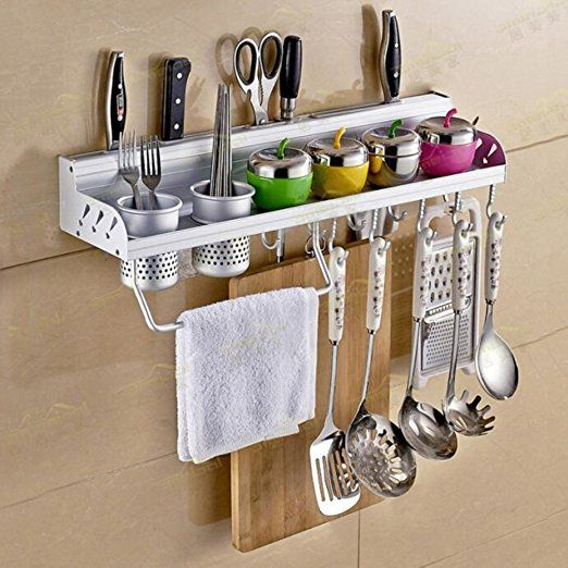 Hanging Kitchen Shelf: Multifunctional Wall Hanging Aluminum Kitchen Rack Of Wall