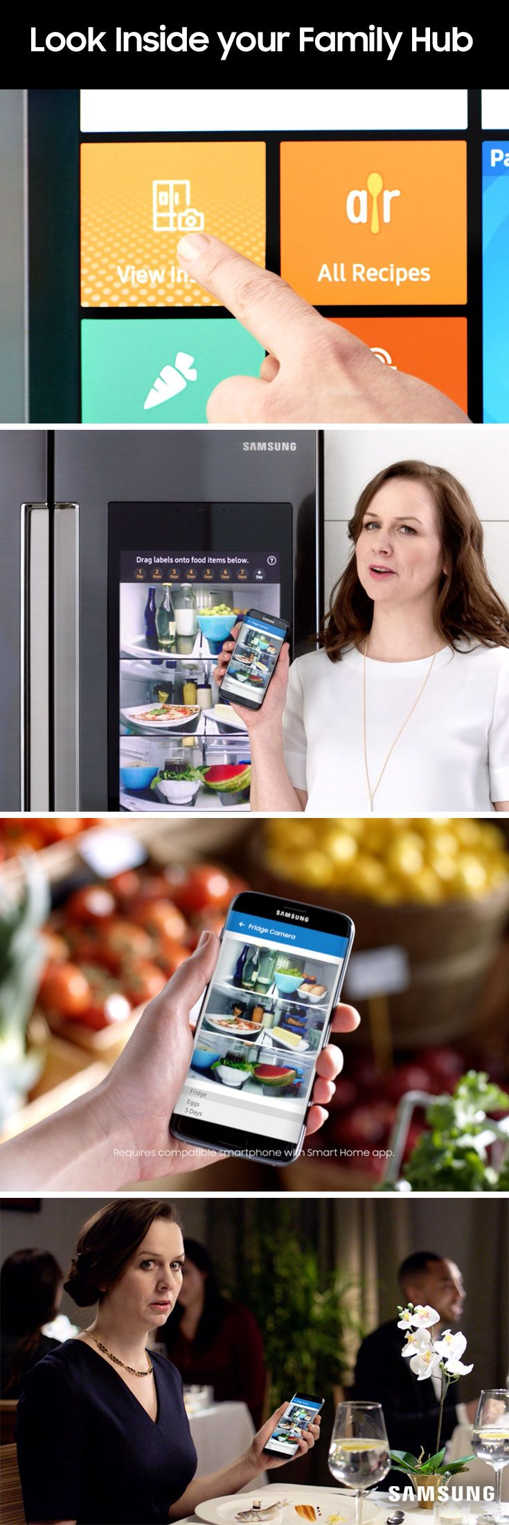 91 best samsung kitchen collection images on pinterest kitchen you never know where you ll be when you need to see what s inside your fridge maybe you ll be at the grocery store struggling to remember whether you