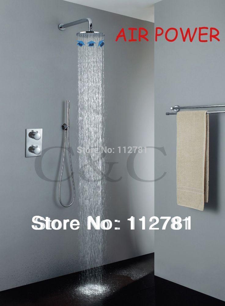 Exclusivo tecnologia Air drop! 10 polegada válvula termostática torneira do chuveiro chuveiro de chuva alishoppbrasil