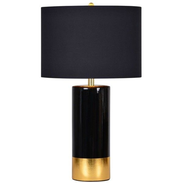 Renwil The Tuxedo Black & Gold By found on Polyvore featuring home, lighting, table lamps, black shades, onyx lamp, gold shades, gold lights and black table lamp