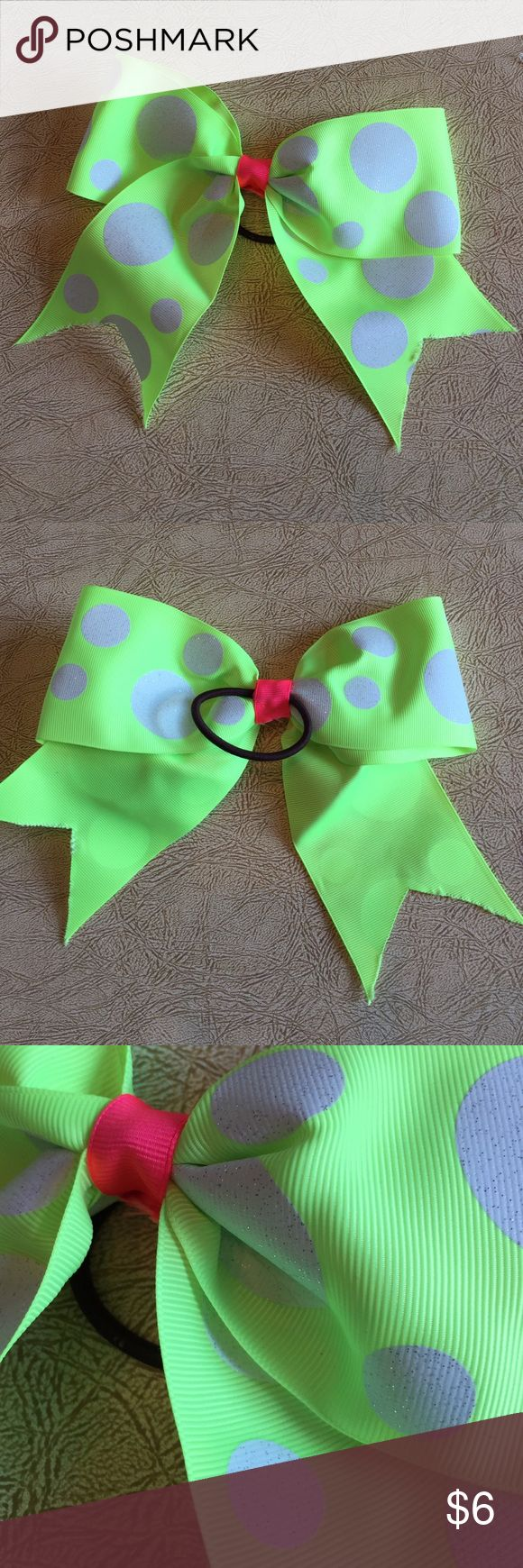 Selling this Neon green/white polka dot/pink cheer hair bow on Poshmark! My username is: mblsales. #shopmycloset #poshmark #fashion #shopping #style #forsale #Handmade #Other