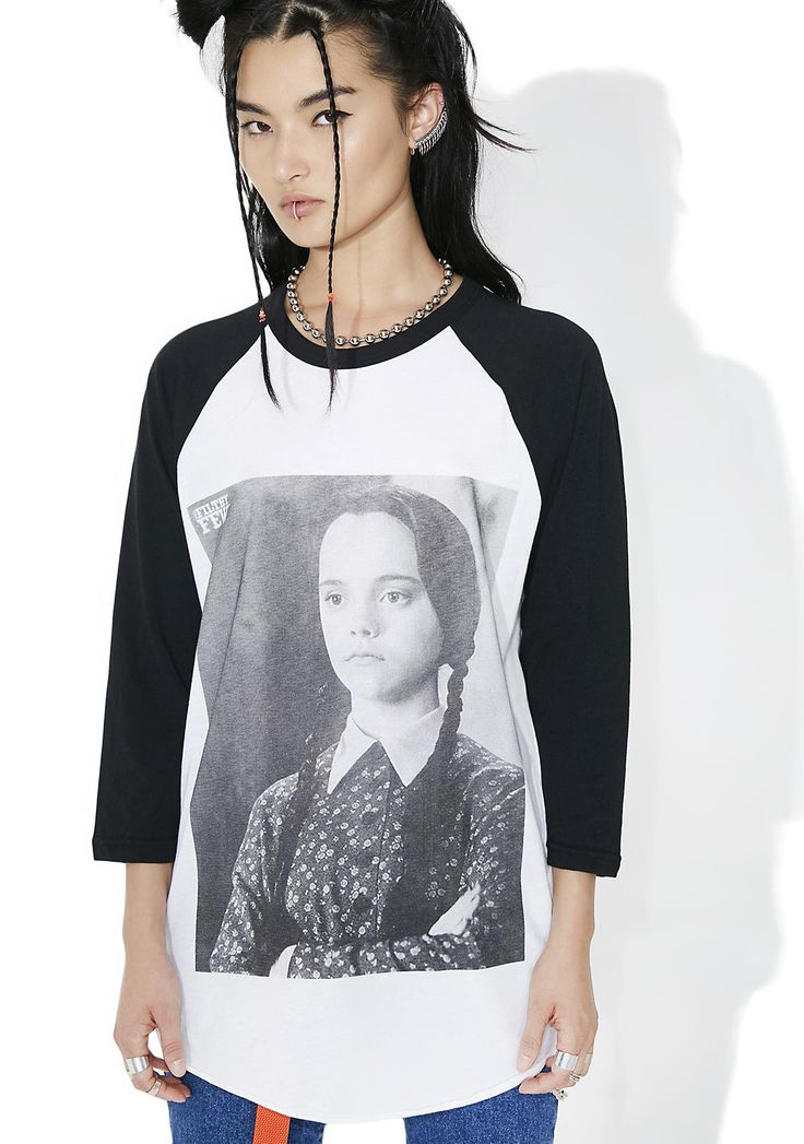 Creep Street Wednesday Raglan will pay homage to yr creepiest crush, bb~ This sikk raglan tee features a cozy white construction with contrasting black three-quarter length sleeves, relaxxed fit, and black 'N white graphic of the ghoul of the hour herself across the front.