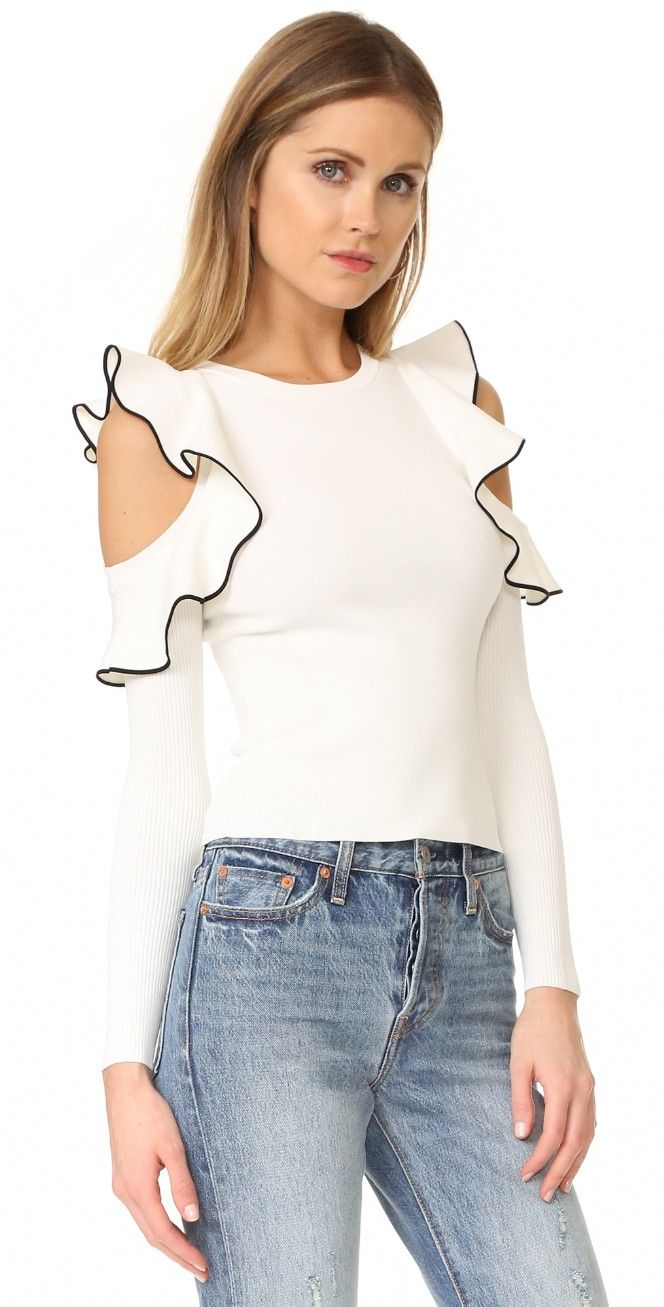 Whistles Tipped Detail Cold Shoulder Top | SHOPBOP