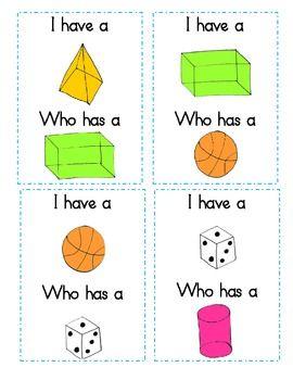 I Have Who Has 2D and 3D Shapes Game - Jeanette Mueller - TeachersPayTeachers.com