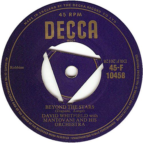 45cat - David Whitfield - Beyond The Stars / Open Your Heart - Decca - UK - F 10458