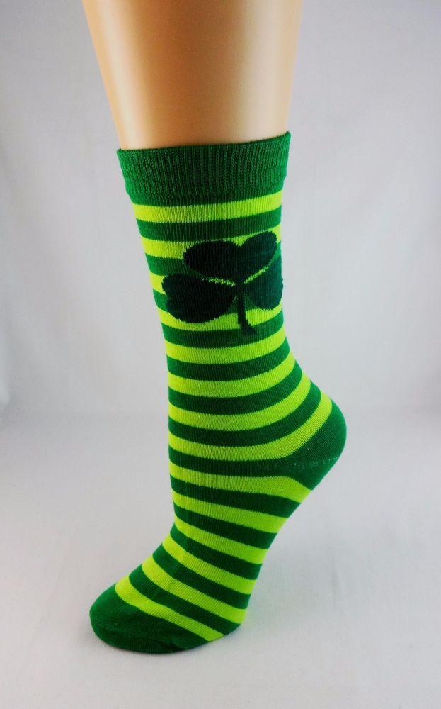 St. Patrick's Day socks ladies crew length size 9-11 one pair #Eros
