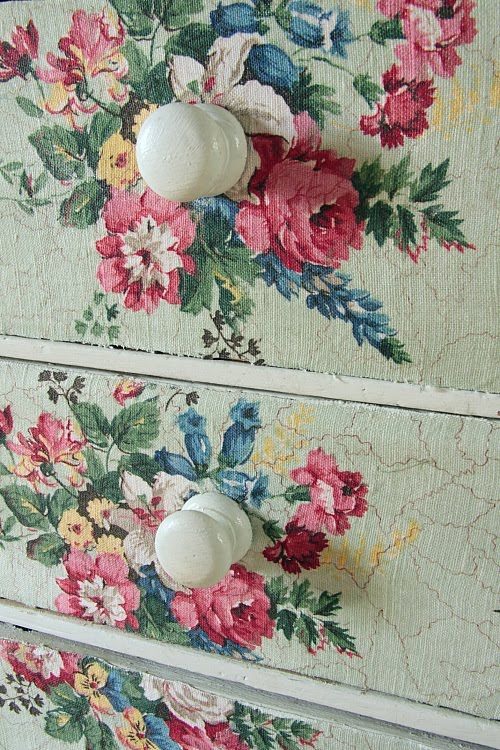 DIY: decoupage ~ fabric to dresser Try using Mod Podge Fabric. This is beautiful! I have the perfect little chest for this diy project. Lots of ideas on this page also, so enjoy and use your imagination!