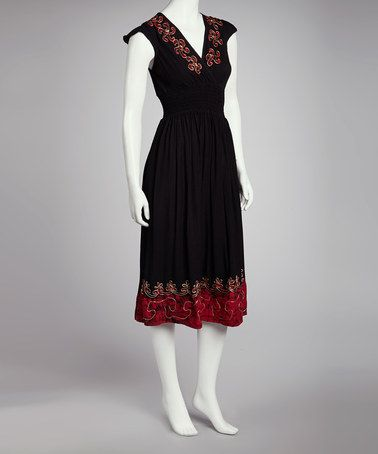 Take a look at this Black Pinwheel Embroidered Batik Dress - Women by SR Fashions on #zulily today!