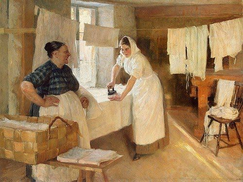 Albert Edelfelt (Finnish Academic painter, 1854-1905) Laundresses 1893  (It's About Time: Laundry)