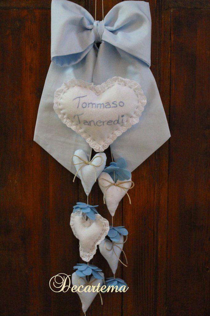 Fiocco nascita azzurro in cotone semplice, in stile shabby