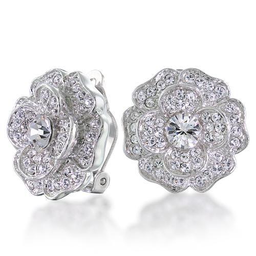 Bridal CZ Diamond Pave Flower Rose Clip On Earrings