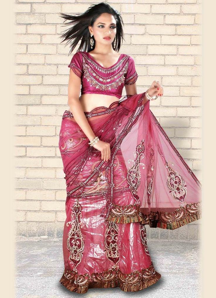 Stunning Pink Lehenga Style Saree