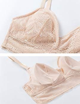 905e077c1a32fa DOBREVA Women s Wirefree Lightly Lined Lace Bralette V Neck Soft Bra Beige  XS at Amazon Women s Clothing store