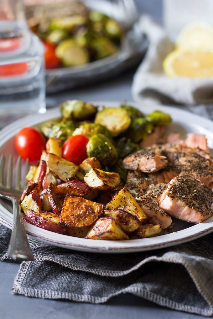 dinner with crispy roasted lemon dill potatoes and brussels sprouts ...