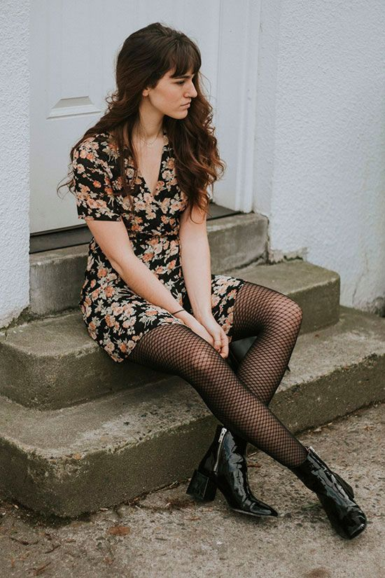 black floral mini dress, black fishnet tights, black block heel booties - Spring outfit, casual outfit, festival outfit, spring fashion trends, spring fashion trends 2017, boho chic outfit, street style, fishnet tights outfit