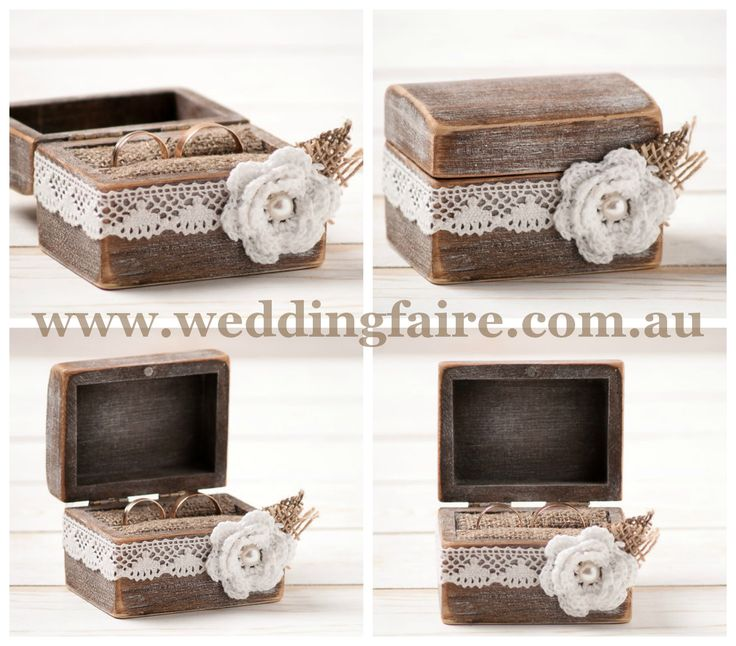 Rustic Burlap & Lace Love Ring Bearer Box - The Wedding Faire