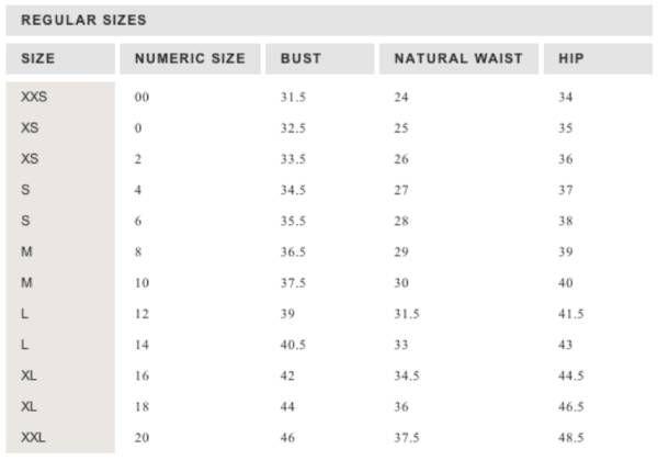 lauren conrad size chart - Siteze