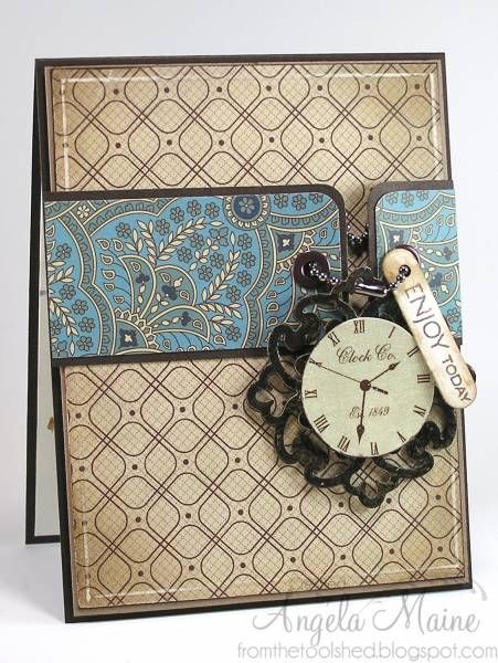 Stamps: Verve sentiment Paper: DCWV, paper source brown Ink: memento rich chocolate Accessories: Culuzzle circle cutting template, chain from a COACH bag tag, Spellbinders' Parisian accents, corner rounder, SU label punch