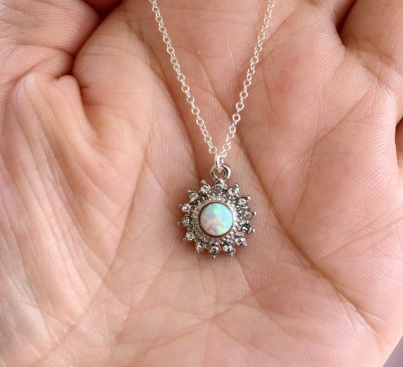 Hey, I found this really awesome Etsy listing at https://www.etsy.com/listing/290045347/white-opal-sun-necklace-silver-necklace