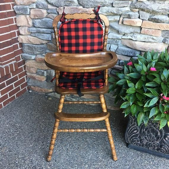 High Chair Cover High Chair Cushion Wooden High Chair Pad Highchair Cover Highchair Cushion Highchair Pad Red Black Buffalo Plaid Highchair Cover Wooden High Chairs Chair Cushions