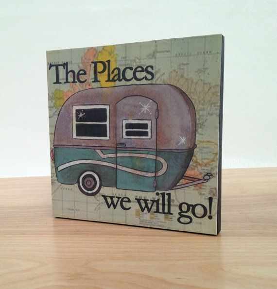 Travel Trailer Boler art block print. Home decor wall art. Gift for retirement, engagement or anniversary.  Also great in kids room