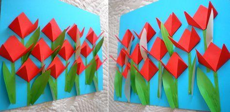 Lalele origami, peisaj de primăvară, colaj...