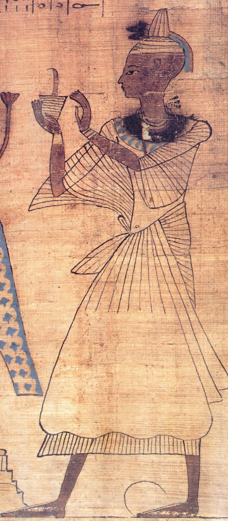 Ancient Egyptian Vignette from the Book of the Dead Penmaat. Penmaat is depicted in his position as a priest of Amun, burning incense and showing the shaved head that was required for priestly purity.  Courtesy & currently located at the British Museum, London.