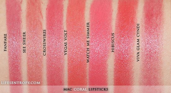 MAC Lipstick Collection Coral Swatch