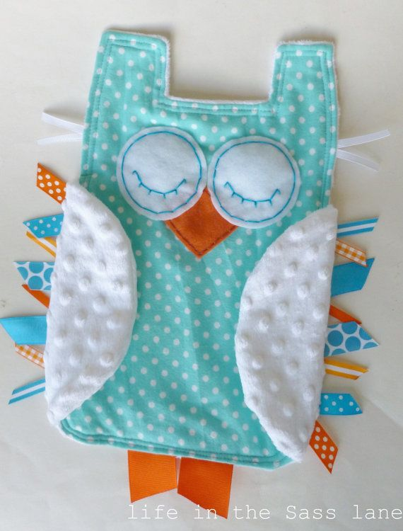 Turquoise and Orange OWL in Polka Dots Flannel and Minky Ribbon Tag Blankie Blanket Lovey Lovie Baby Gift
