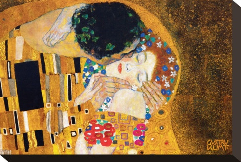 """""""The Kiss"""" c. 1907    Austrian iconoclast Gustav Klimt (1862 – 1918) triumphed over childhood poverty to significantly influence the Viennese Secession and Art Nouveau movement. Klimt's elaborate, explicitly sensual works expressed themes of regeneration, love and death, and incorporated Egyptian, Classical Greek, Byzantine and Medieval styles. Klimt also utilized symbols representing art's liberation from traditional culture. He helped to lay the groundwork for Art Deco and Modernism."""