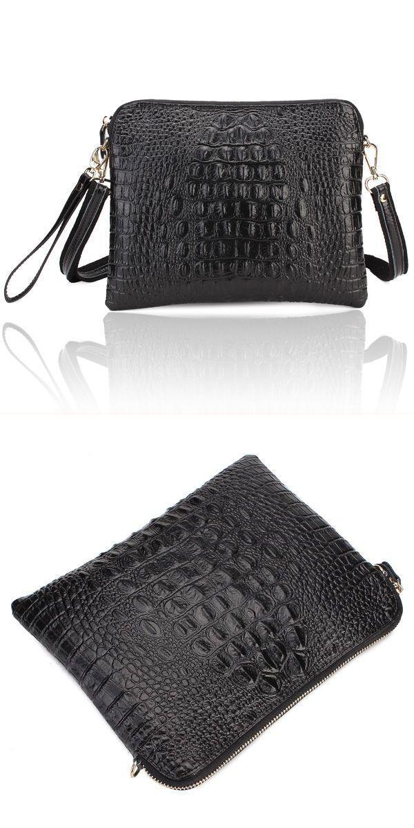 Women 8217 S Crocodile Pattern Clutch Bags Pu Leather Shoulder Messenger Handbag