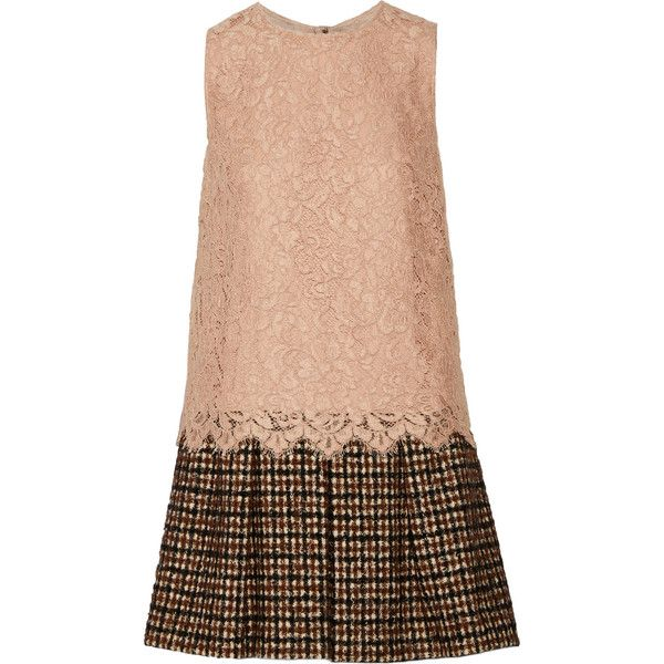 Dolce & Gabbana Lace and tweed mini dress ($840) ❤ liked on Polyvore featuring dresses, vestido, pink, pink dress, short dresses, short red dress, mini dress and red pleated dress