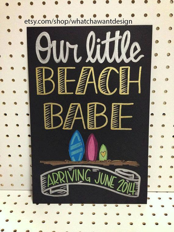 Custom Hand-Painted 10x15 CHALKBOARD baby announcement photo shoot prop beach babe gender reveal pregnancy only child expiring