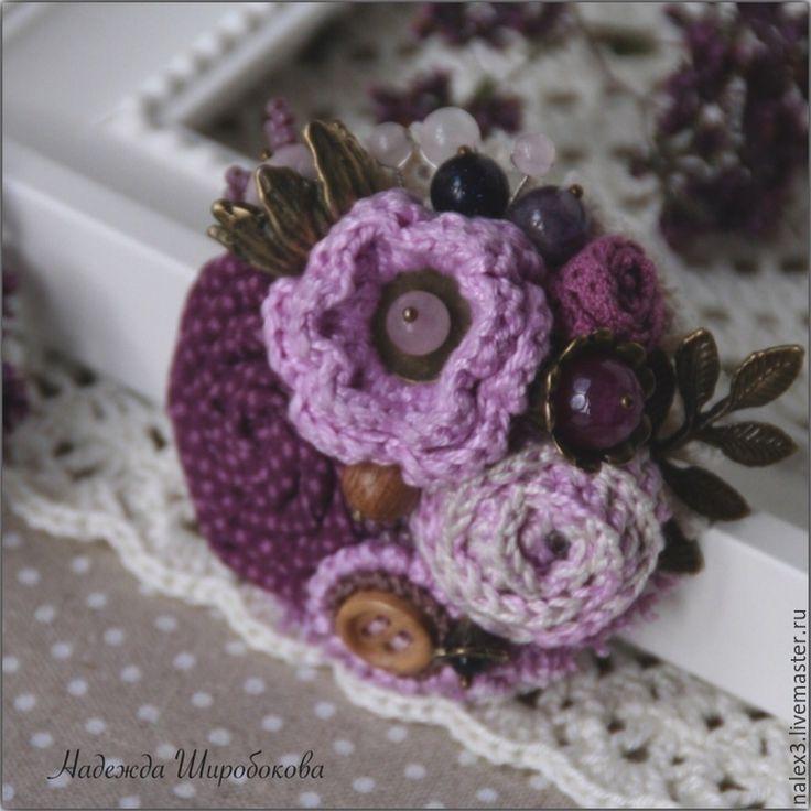 """Купить Брошь """"Лавандовые поля"""" - фиолетовый, оттенки фиолетового, оттенки лаванды, лавандовый цвет"""